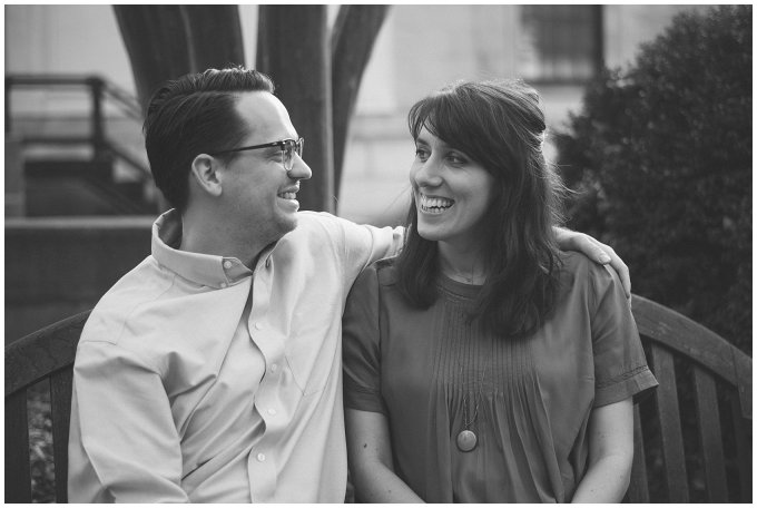 Black and White Downtown Suffolk Couple Portrait Session