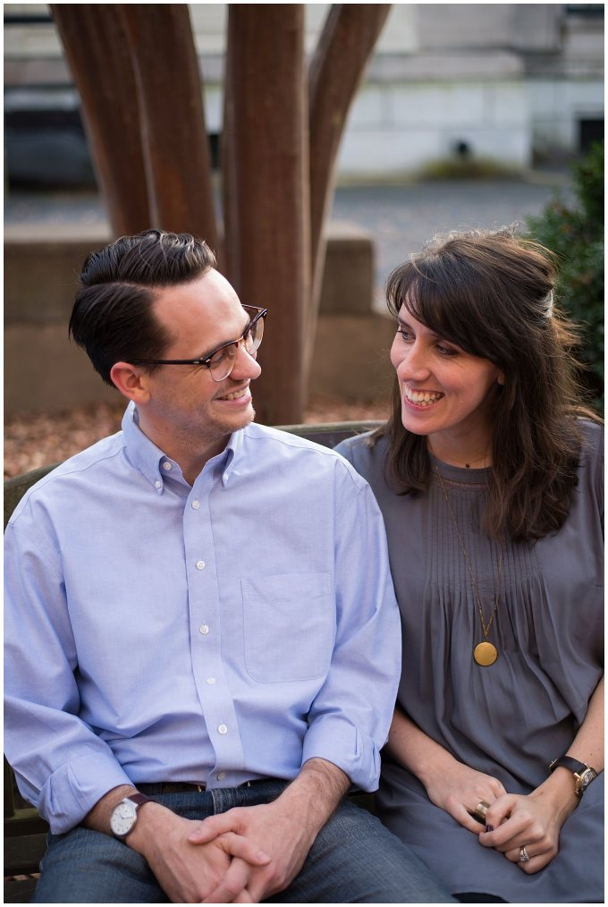 Downtown Suffolk Virginia Couple Smiling Portrait Session