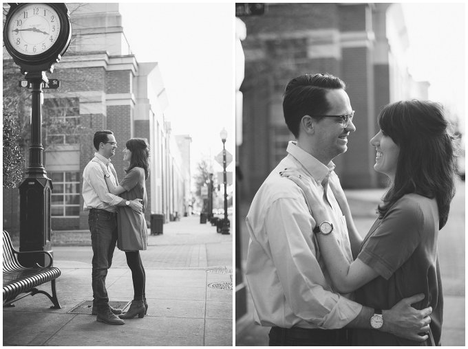 Black and White Downtown Suffolk Virginia Couple Portrait Session_0273