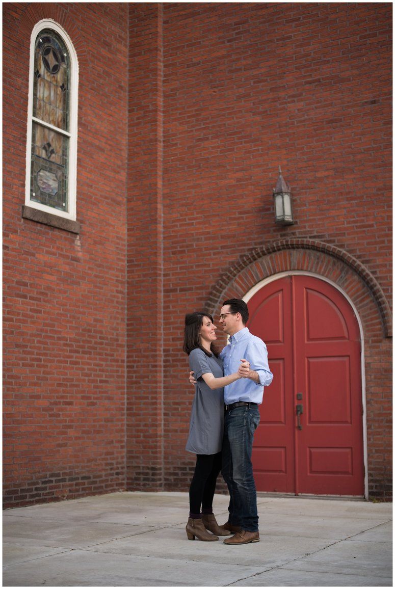 Downtown Suffolk Virginia Couple Dancing Portrait Session