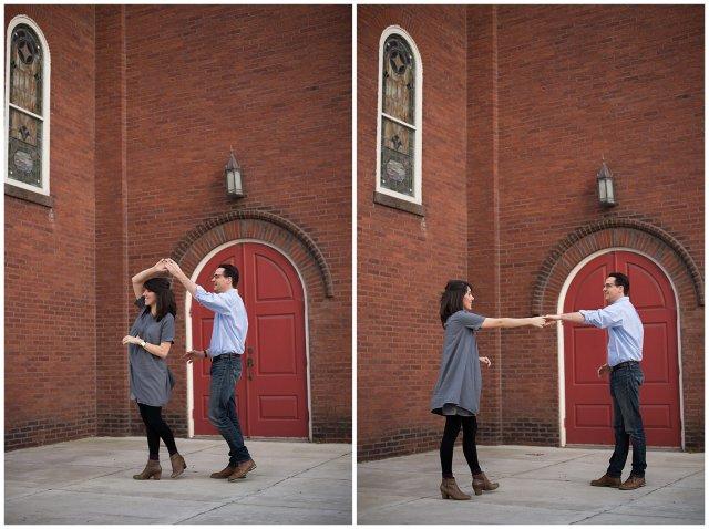 Downtown Suffolk Virginia Couple Dancing Portrait Session