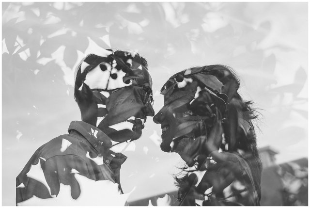 Black and White Double Exposure Couple Portraits in Downtown Suffolk Virginia