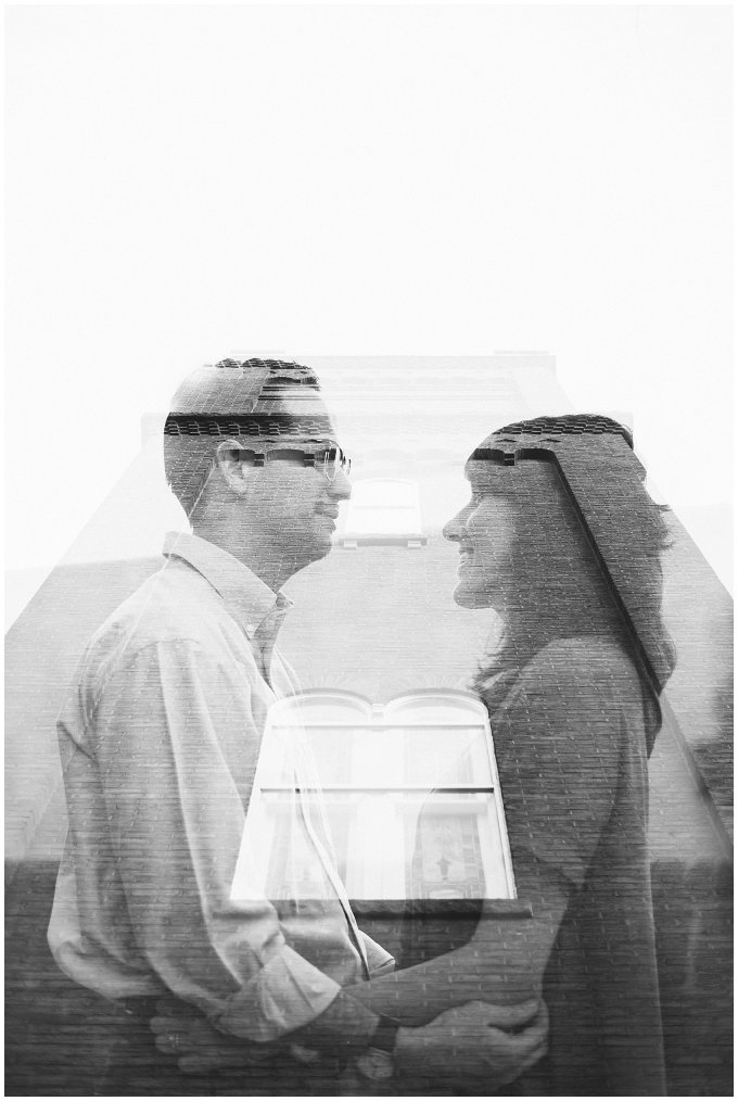 Black and White Double Exposure of Couple