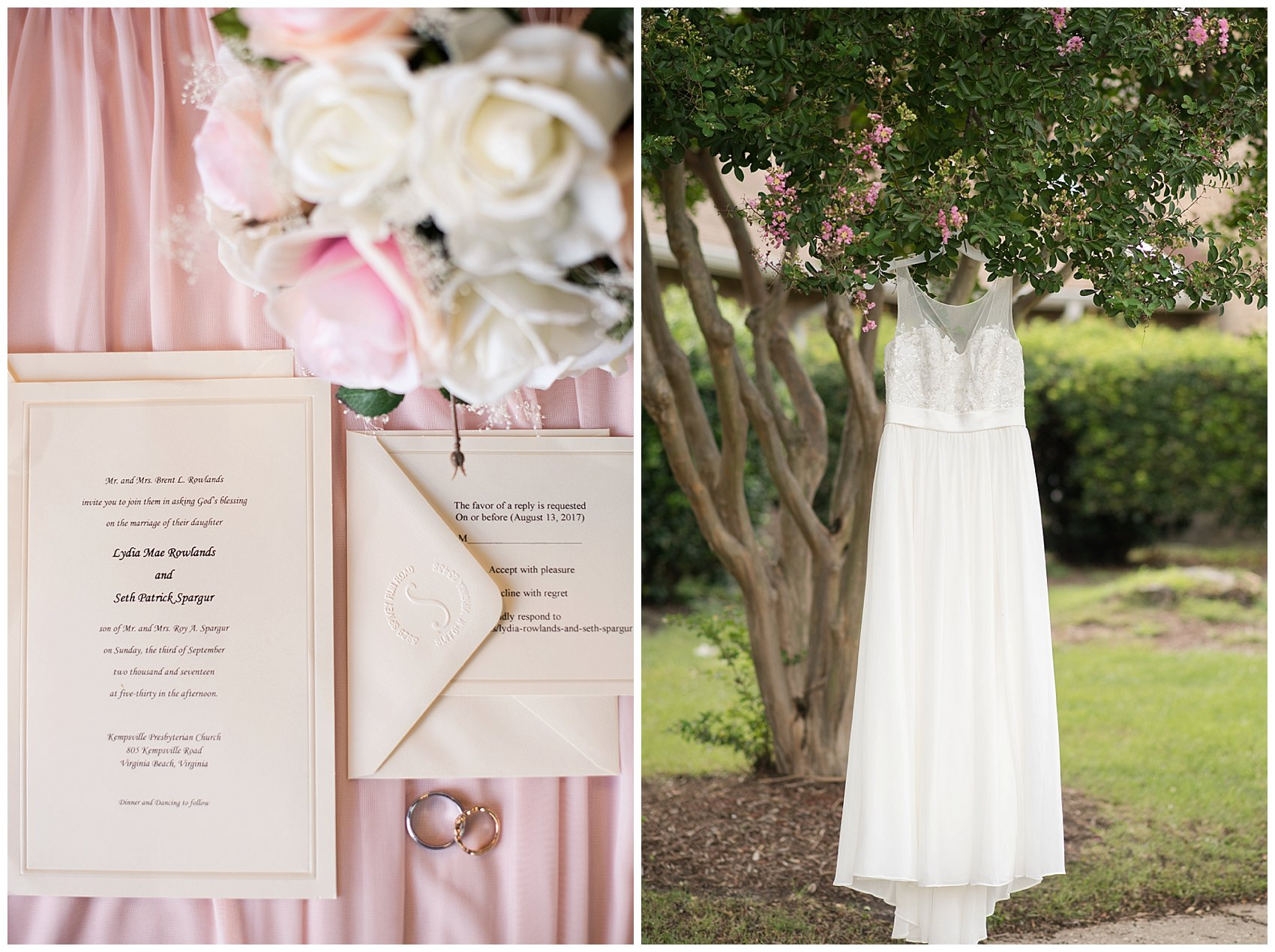 Blush Pink Summer Virginia Beach Wedding Regent University Founders Inn Bride and Groom Wedding Photographers_6025